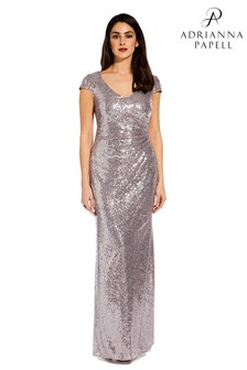 Adrianna Papell Grey Cap Sleeve Sequin Dress
