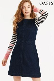 Oasis Blue Denim Slash Neck Dress