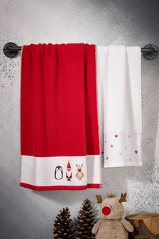 2 Pack Christmas Hand Towels