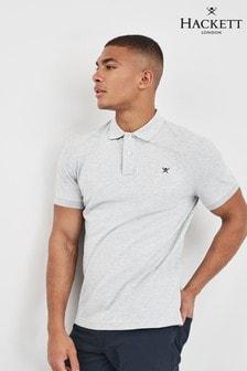 Hackett Grey Slim Fit Logo Short Sleeve Polo