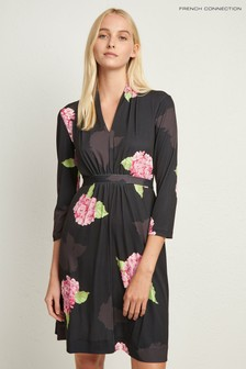 French Connection Black Floral Jersey Dress