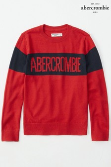 Abercrombie & Fitch Red Colour Block Jumper