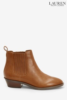 Ralph Lauren Tan Leather Erica Western Boots