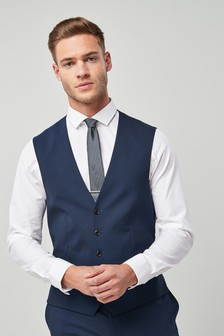 Wool Blend Stretch Suit: Waistcoat