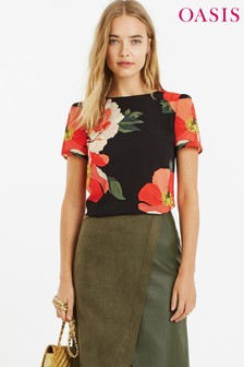 Oasis Black Bold Bloom Placement Blouse