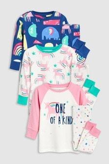 Unicorn Snuggle Fit Pyjamas Three Pack (9mths-8yrs)