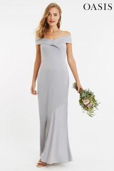 Oasis Grey Bardot Slinky Maxi Dress