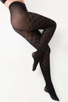 Opaque Diamond Pattern Tights One Pack