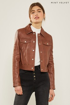 Mint Velvet Brown Leather Western Jacket