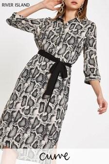 River Island Grey Column Shirt Dress