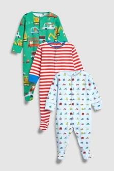 Stripe/Transport Sleepsuits Three Pack (0mths-2yrs)