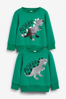 Dino Sequin Crew Top (9mths-7yrs)