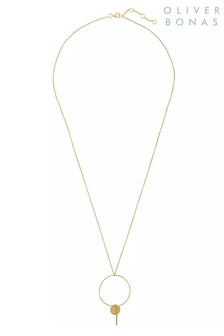 Oliver Bonas Camelina & Drop Gold Plated Necklace
