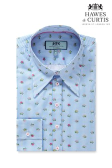 Hawes & Curtis Blue Vintage Lotus Stripy Fitted Shirt