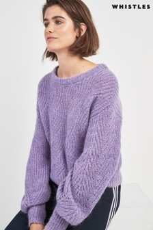 Whistles Lilac Mohair Blend Sweater
