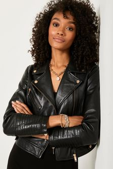 Mint Velvet Black Stitched Leather Biker