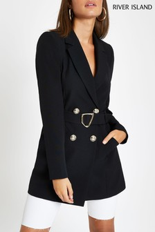 River Island Black Long Belted Jacket