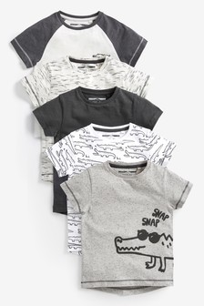 Crocodile Short Sleeve T-Shirts Five Pack (3mths-7yrs)