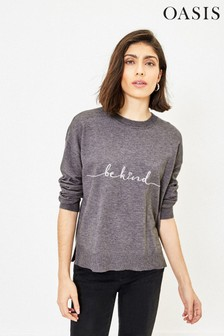 Oasis Grey Be Kind Embroidered Knit Jumper