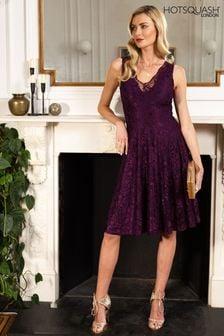 HotSquash Purple V-Neck Floral Lace Dress