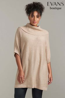 Evans Neutral Cowl Neck Tabard Jumper