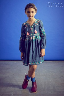 Outside The Lines Blue Embroidered Dress