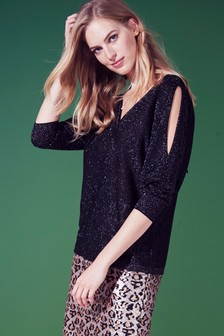 Sparkle Split Sleeve Sweater