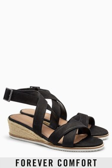 Leather Low Espadrille Wedges