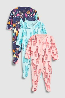 Animal Character Sleepsuits Three Pack (0mths-2yrs)