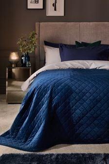 Navy Blue Hamilton Velvet Quilted Bedspread