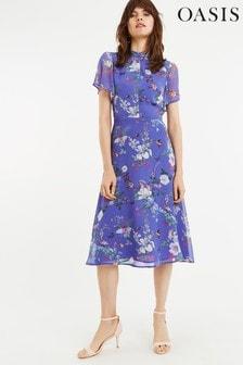 Oasis Blue Bloom Chiffon Midi Dress
