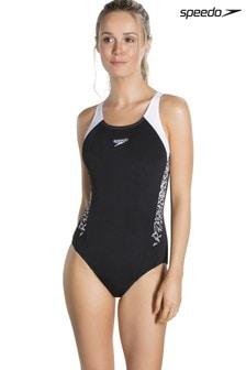 Speedo® Black And White Splice Muscleback Swimsuit