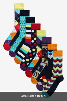 Geometric Pattern Socks Eight Pack