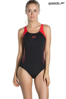 Speedo® Black/Red SPLC Muscleback Swimsuit