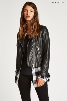 Jack Wills Black Padstow Leather Biker Jacket