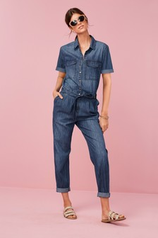 Short Sleeved Denim Boilersuit