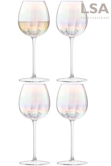 Set of 4 LSA International Pearl White Wine Glasses