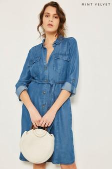 Mint Velvet Blue Belted Chambray Shirt Dress