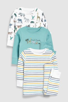 Jungle Animals Snuggle Fit Pyjamas Three Pack (9mths-8yrs)
