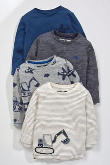 Long Sleeve Transport T-Shirts Four Pack (3mths-7yrs)
