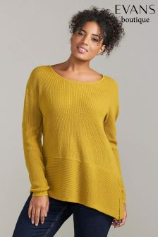 Evans Yellow Asymmetric Hem Jumper