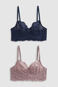 Georgie Non Padded Lace Full Cup Bras Two Pack