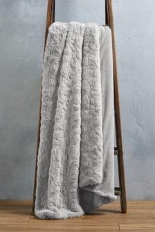 Textured Faux Fur Throw