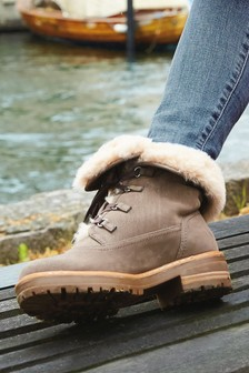 Forever Comfort® Faux Fur Lace-Up Boots