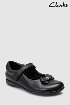 Clarks Black Leather Prime Skip Bow Mary Janes