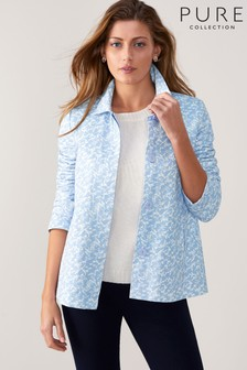 Pure Collection Soft Cotton Collared Jacket