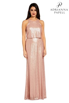 Adrianna Papell Pink Sequin Popover Dress