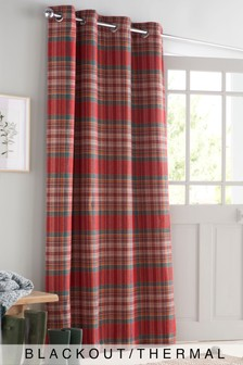 Crafted Thornly Woven Check Eyelet Door Door Curtain