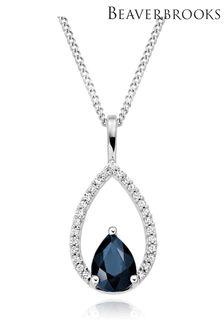 Beaverbrooks 9ct White Gold Diamond Sapphire Pendant