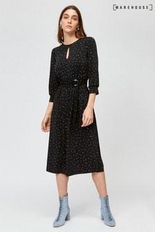 Warehouse Black Star Print Midi Dress